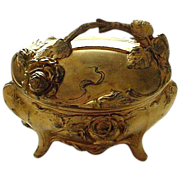 Antique Victorian Gilt Metal Casket with Figural 3-D Roses