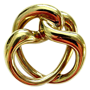 14K Satin Gold Knot Pin/Brooch Copyright Hallmark Letter T