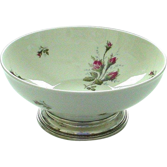 Rosenthal moss rose sterling footed large centerpiece bowl from thatwasthen on ruby lane - Footed bowl centerpiece ...