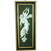 Gorgeous Framed Olive Green Jasperware/Jasper Ware Plaque - Woman with Lyre and Putto