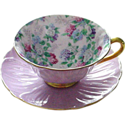 REDUCED Extraordinary Shelley Oleander Shaped Summer Glory Hydrangea Chintz Cup and Saucer Mau
