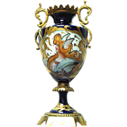Art Nouveau French Sevres Portrait Mercury Vase with Bronze Mounts Raised Gold Decorations