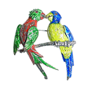 Large German Germany Sterling Silver and Enamel Parrot Pin - Kissing Parrots