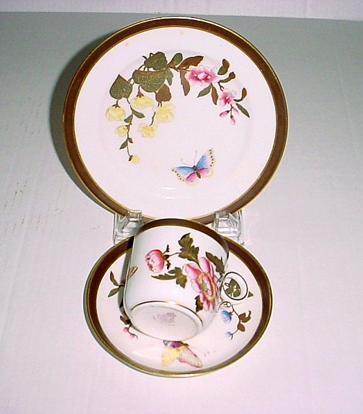 Antique Royal Worcester Butterfly Handpainted Decorated Cup, Saucer, and Dessert Plate Trio