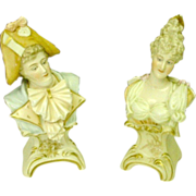 Antique Napoleon and Josephine Miniature Busts by E.A. Muller