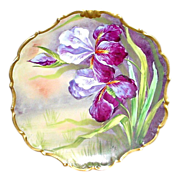 REDUCED French Limoges Antique Handpainted Wall Plaque w/ Irises or Orchids - Artist Signed