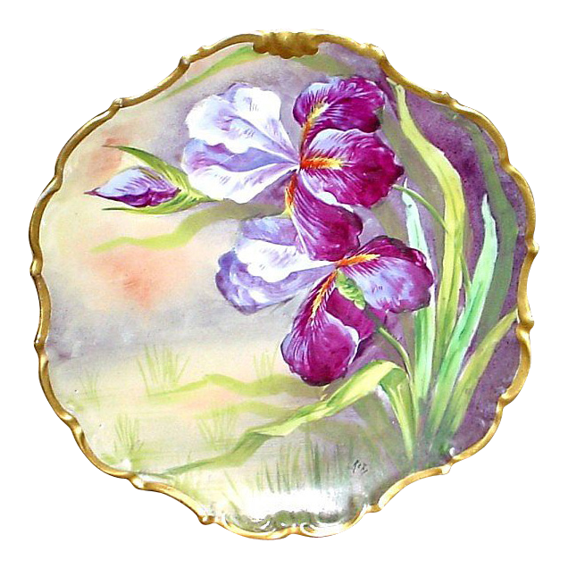French Limoges Antique Handpainted Wall Plaque w/ Irises or Orchids - Artist Signed