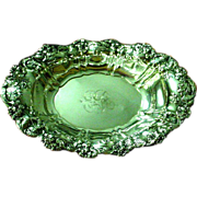 "Antique 1905 Whiting Violets Sterling Silver 11"" Oval Vegetable Bowl"