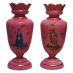 PAIR of French or Italian Antique Enamelled PINK Opaline Vases