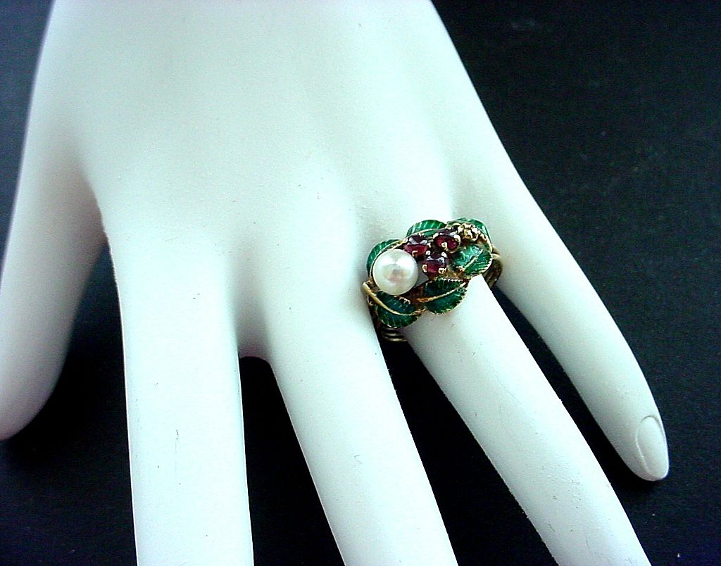 14K Enamel, Ruby, and Pearl Ring - Sz 9