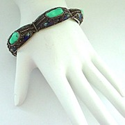 REDUCED Vintage Chinese Enamel, Silver, and Turquoise Bracelet Narrow and 7 3/8""