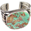 Very Fine Native American Signed Sterling and Turquoise Cuff Bracelet - Very Large Stone
