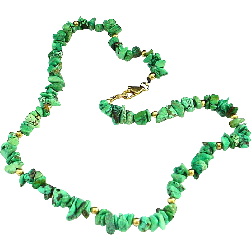 "17"" Turquoise Nugget Necklace"
