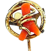 Antique 10K Gold and Coral Stickpin