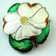 Enamel on Sterling Flower Pin made by BM Co. of Canada