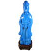 Antique Chinese Peking Glass Figure of Qwan Yin Goddess of Mercy French Blue with Cross