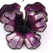 David Andersen Norway Enamel on Sterling Pansy Pin - FREE Shipping!