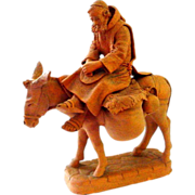 Terracotta Sculpted Figure of Man on Donkey - Joseph?