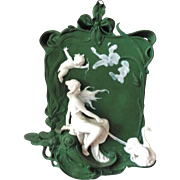 Woman and Swans Rare Volkstedt Germany Jasperware Jasper Ware Plaque