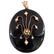 18K Very Large Whitby Jet Mourning Locket with Pearls