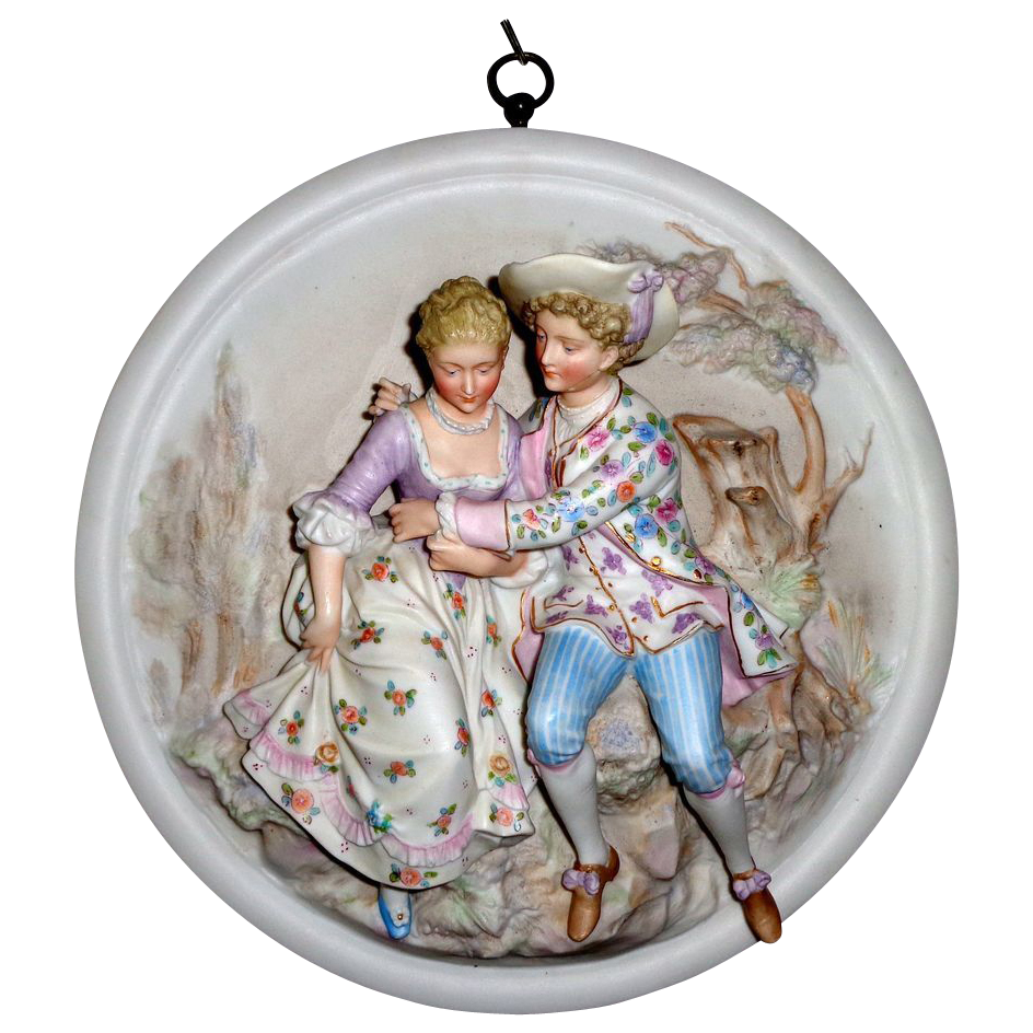 Extraordinary 3 Dimensional Porcelain Cuddling Couple Plaque #2 - German