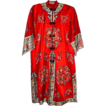 Ravishing Red Silk Embroidered Robe or Kimono - over 15  Colors