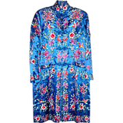 Brilliant Royal Blue Chinese Silk Embroidered Robe or Kimono with Pockets - Birds, Chrysanthem