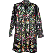 Bold Black Silk Chinese Robe or Kimono with Colorful Embroidery - 18 Birds, Flowers, and More