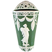 German Jasperware Jasper Ware Wall Pocket - Classic - Green and White