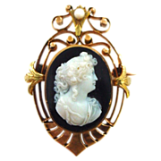 REDUCED Antique 18K Yellow and Rose Gold Hardstone Cameo