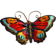 David Andersen Enamel Sterling Butterfly Pin - Large - Shades of Red