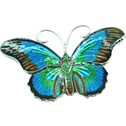 Small but VERY Sweet Enamel on Sterling Silver Butterfly Pin