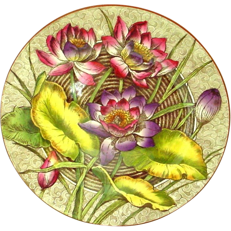 Antique Wedgwood Botanical Plate Water Lilly in Pinks Purples - Rare Color