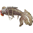 Mint Condition Chinese Articulated Purple Enamel Silver Googly Eye Fish with Fantail - Goldfish - Koi