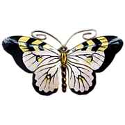 Multi-color Marius Hammer Norway Enamel on Sterling Butterfly Pin Brooch