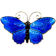Large David Andersen Enamel Sterling Guilloche Butterfly Pin - Deep Electric Blue Brooch
