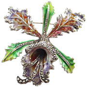Large Cattleya Orchid Enamel on Sterling Silver Pin Brooch
