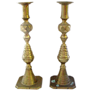 Pair of 12&quot; Tall Brass Antique Classic Beehive Candlesticks