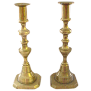 Antique 9&quot; Beehive Pair of Brass Pushup Candlesticks