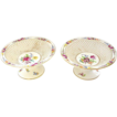 Pair of Antique Dresden Germany Hand Painted Compotes - Footed Bowls