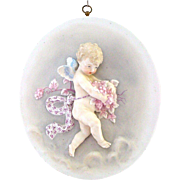 Extraordinary and Very Large 3-Dimensional Porcelain Boy Cherub Angel Plaque