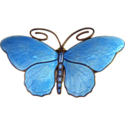 Pristine Marius Hammer 930 Sterling Enamel Butterfly Pin Brooch