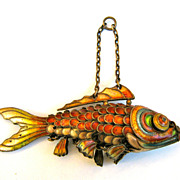 Vintage Enamel on Silver Chinese Articulated Googly Eyed Fish Koi in Fabulous Colors