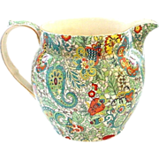 Royal Winton Paisley Chintz Green Large Bulbous Jug Pitcher