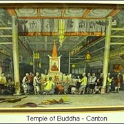 19th C. Antique Steel Engraving Temple of Buddha Canton - T.Allom from China Illustrated