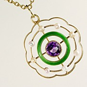 Antique Amethyst, Pearl and Enamel Pendant
