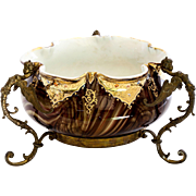 Rare  Loetz  Circa  1890  Marmoriertes Bowl In Ornate Winged Figural Armature