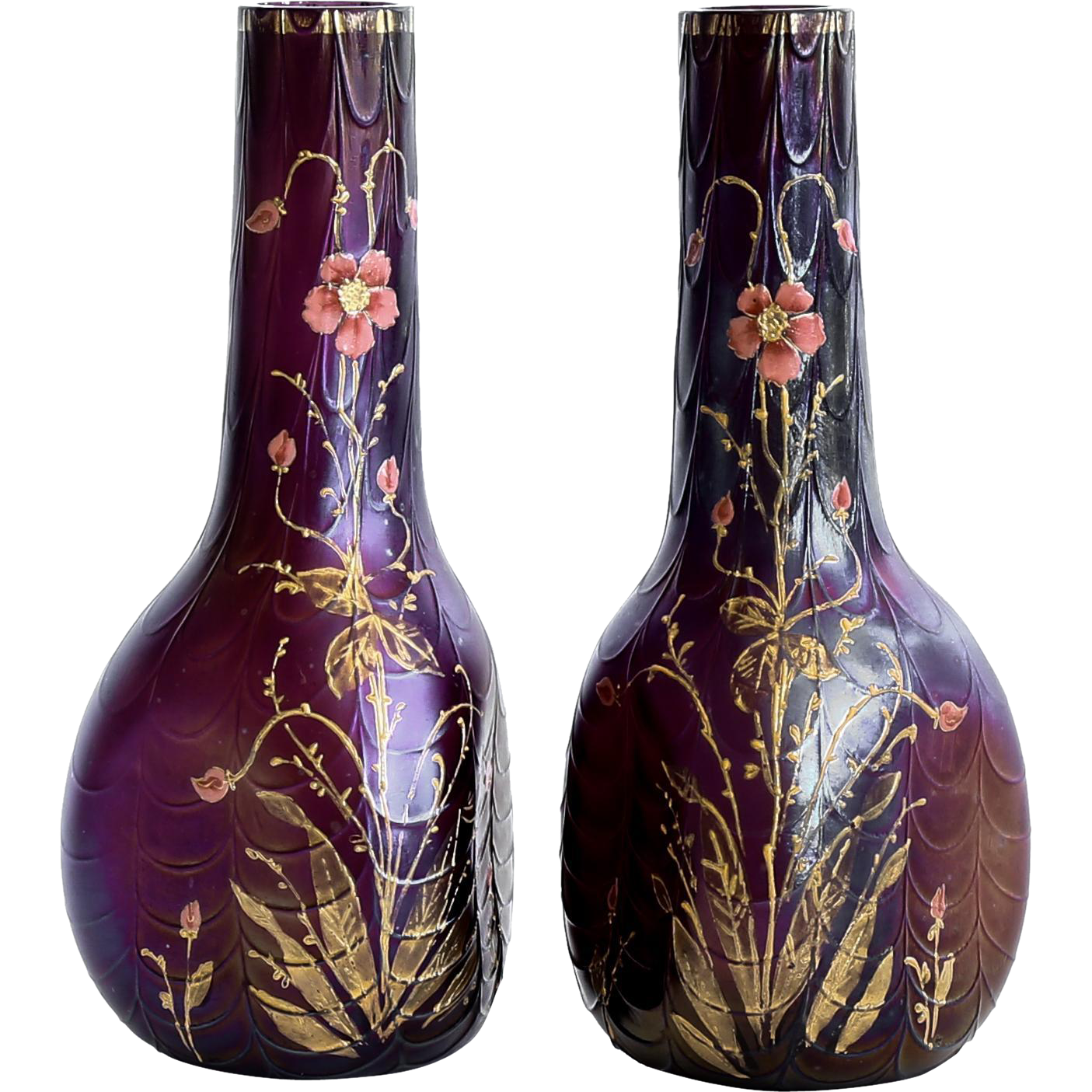 Exceptional Pair Of Antique Loetz Amethyst Art Nouveau Vases With Enameled Floral Motif