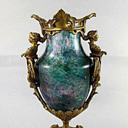 Rare Circa 1880 Antique Victorian French Art Glass Vase In Ornate Bronze Figural Armature