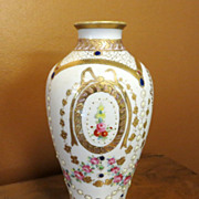Ornate Circa 1920�s Jeweled & Floral Enameled Nippon Vase